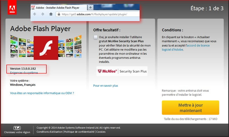 flash player 13.0.182 téléchargement