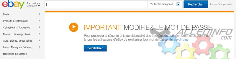 Ebay.fr conseille enfin le changement de mot de passe sur le site fr