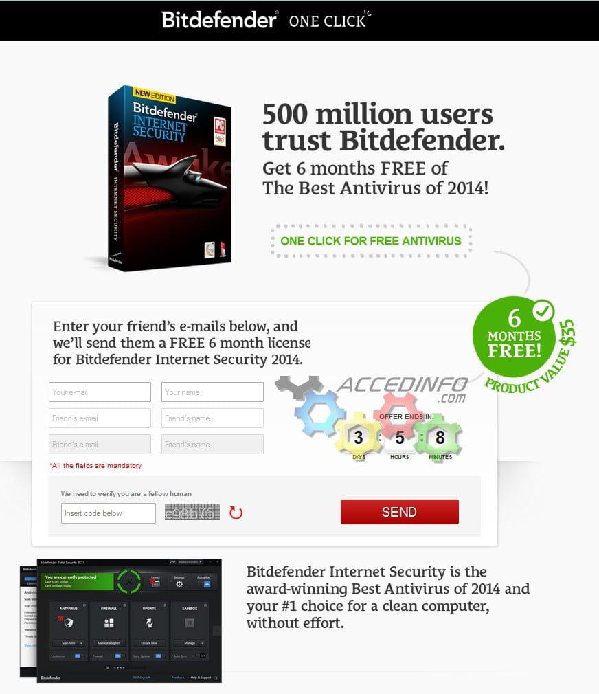 Offre promo de six mois BitDefender Internet Security 2014