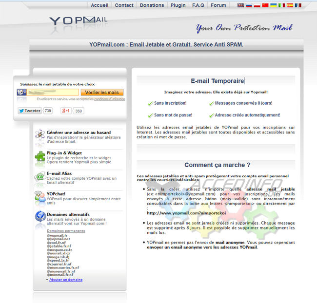 Yopmail un service de mail à usage unique