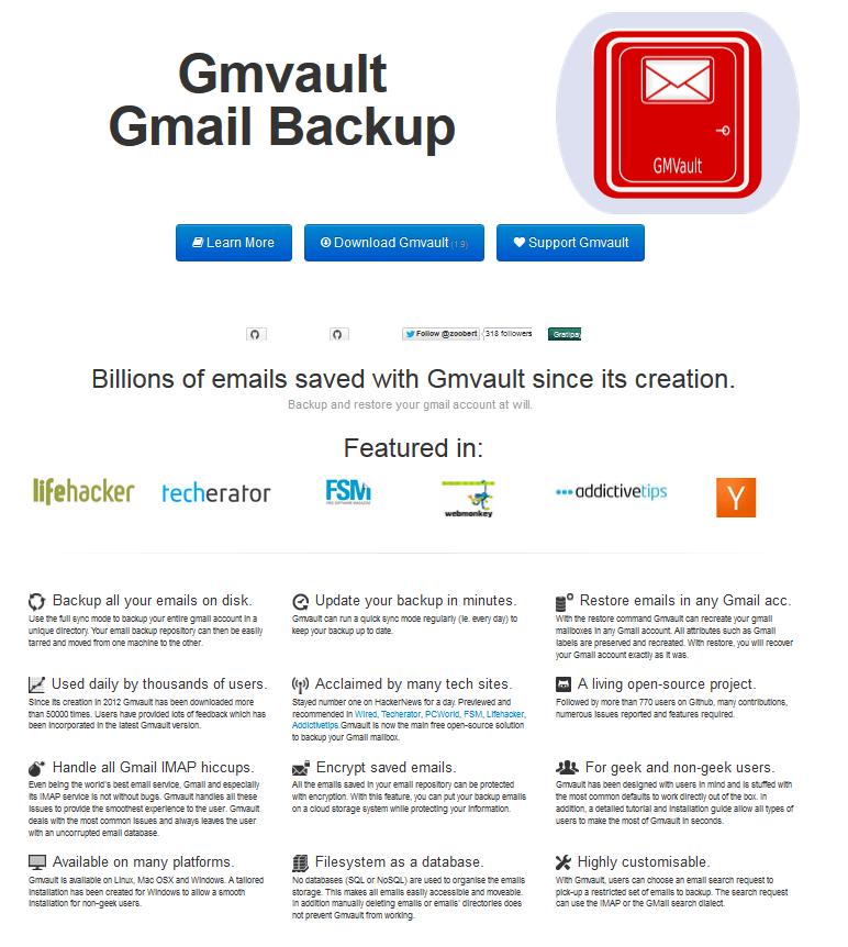 GMVault l'outil de sauvegarde pour Gmail